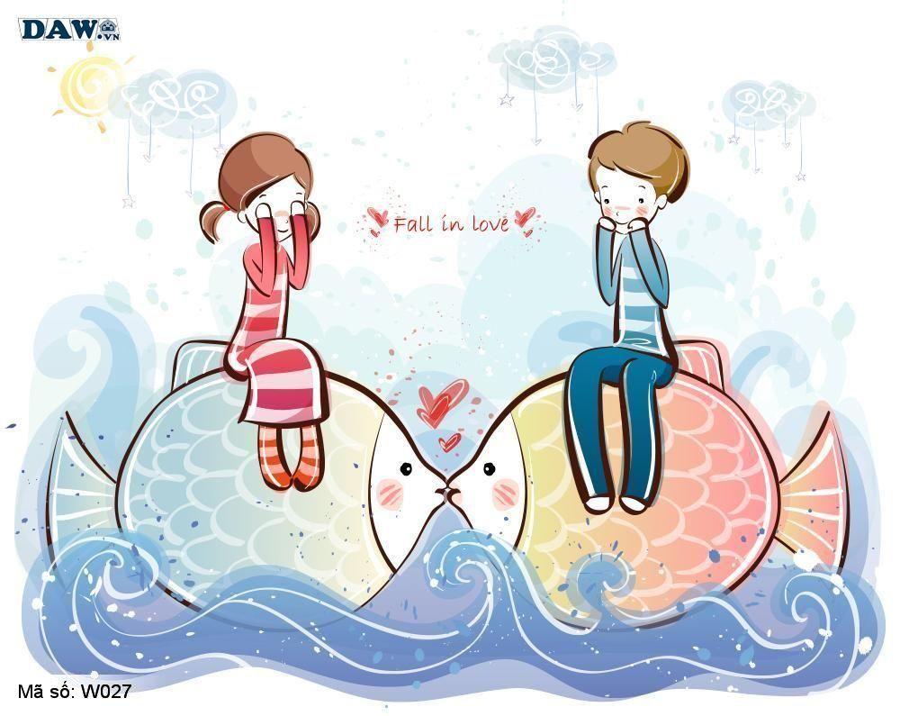 Tranh dán tường Hàn Quốc, phong cảnh thiên nhiên, thành phố, chàng trai, cô gái đang yêu nhau W027
