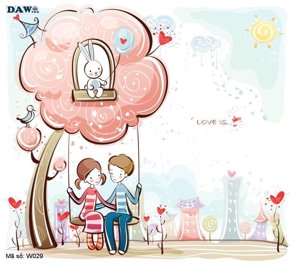 Tranh dán tường Hàn Quốc, phong cảnh thiên nhiên, thành phố, chàng trai, cô gái đang yêu nhau W029