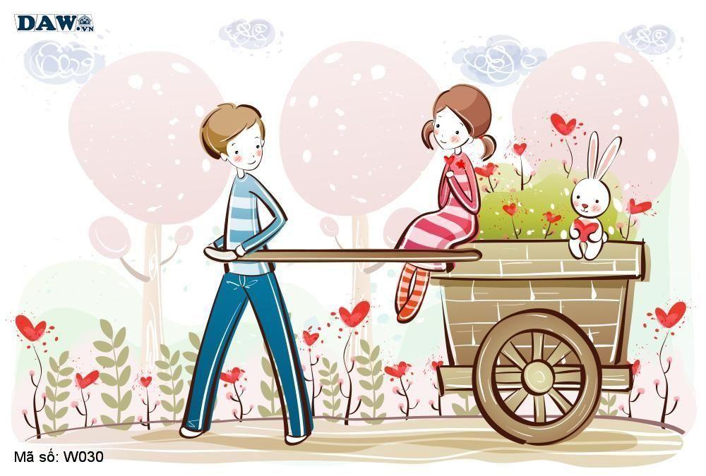 Tranh dán tường Hàn Quốc, phong cảnh thiên nhiên, thành phố, chàng trai, cô gái đang yêu nhau W030