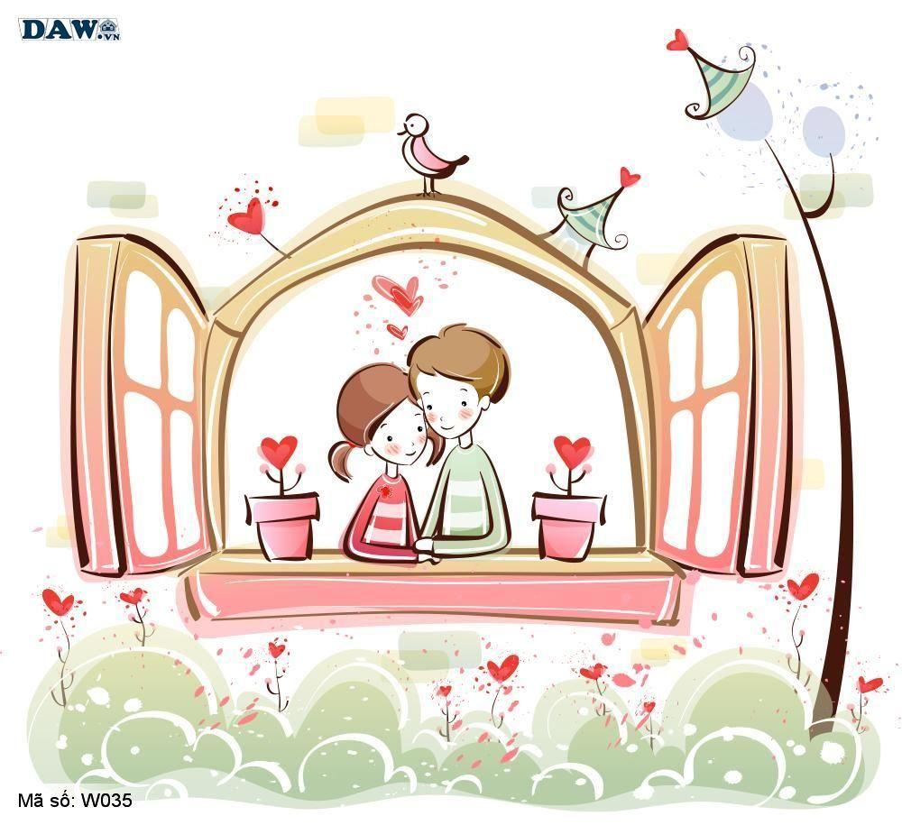 Tranh dán tường Hàn Quốc, phong cảnh thiên nhiên, thành phố, chàng trai, cô gái đang yêu nhau W035