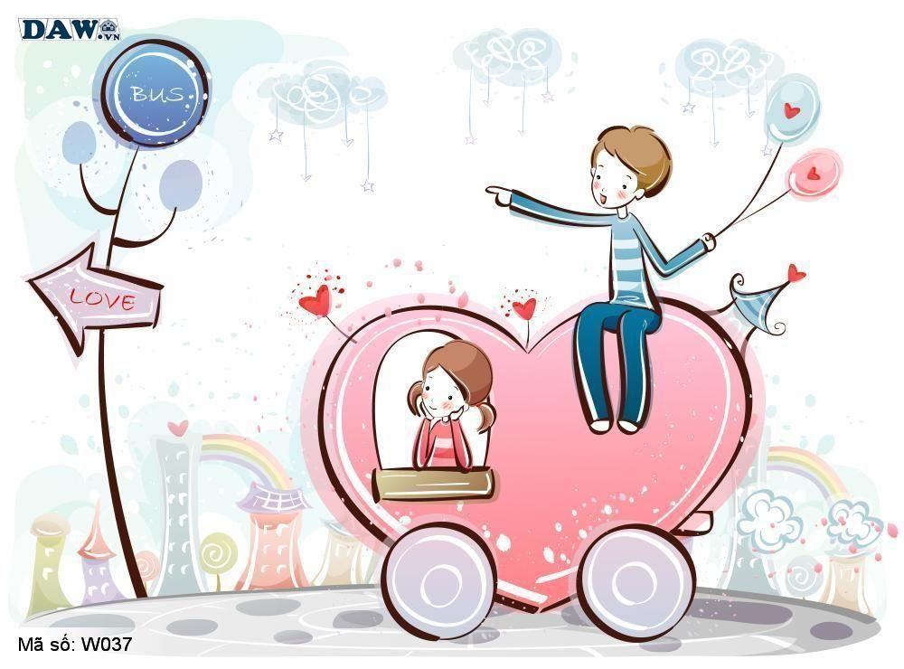 Tranh dán tường Hàn Quốc, phong cảnh thiên nhiên, thành phố, chàng trai, cô gái đang yêu nhau W037