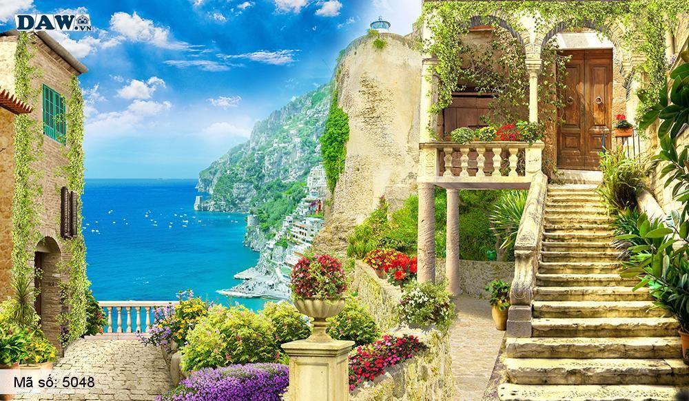 Tranh dán tường Hàn Quốc, tòa nhà, con đường, lâu đài, bãi biển, vườn hoa 5048