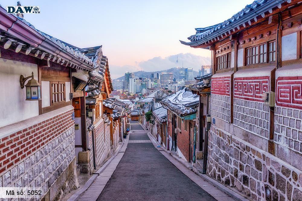Tranh dán tường Hàn Quốc, tòa nhà, con đường, ngõ hẻm, đình làng 5051