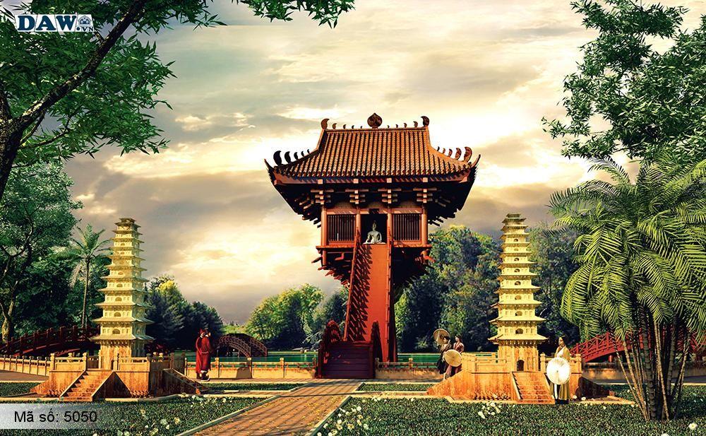 Tranh dán tường Hàn Quốc, tòa nhà, cung điện, ngôi chùa, công viên 5050