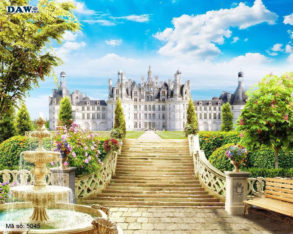 Tranh dán tường Hàn Quốc, tòa nhà, lâu đài, cung điện, vườn hoa 5045