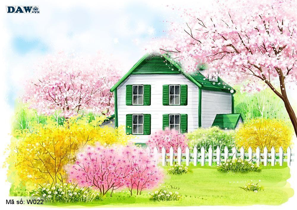 Tranh dán tường Hàn Quốc, tranh vẽ 3D công viên, vườn hoa, cây lá, ngôi nhà W022