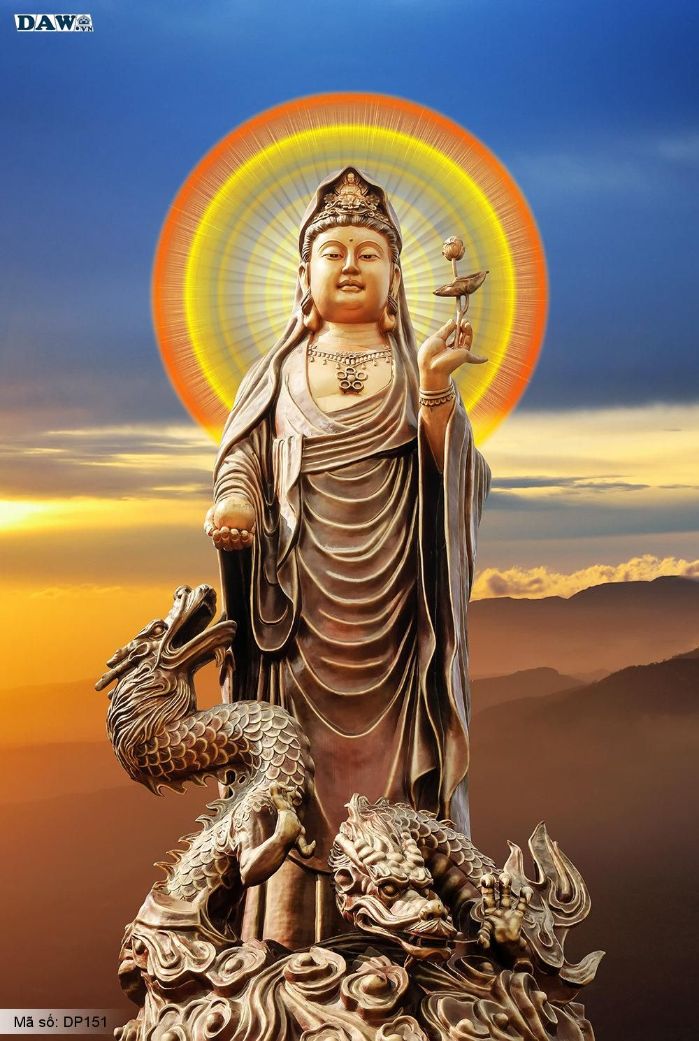 Tranh dán tường 3D Hàn Quốc, hình ảnh tượng tượng phật quan âm cưỡi rồng DP151