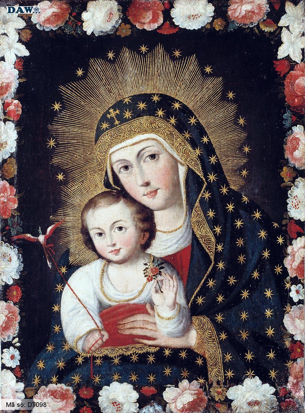 Tranh dán tường Hàn Quốc, hình ảnh về thiên chúa giáo, đức mẹ Maria, giáo xứ, chúa Giê su DT098