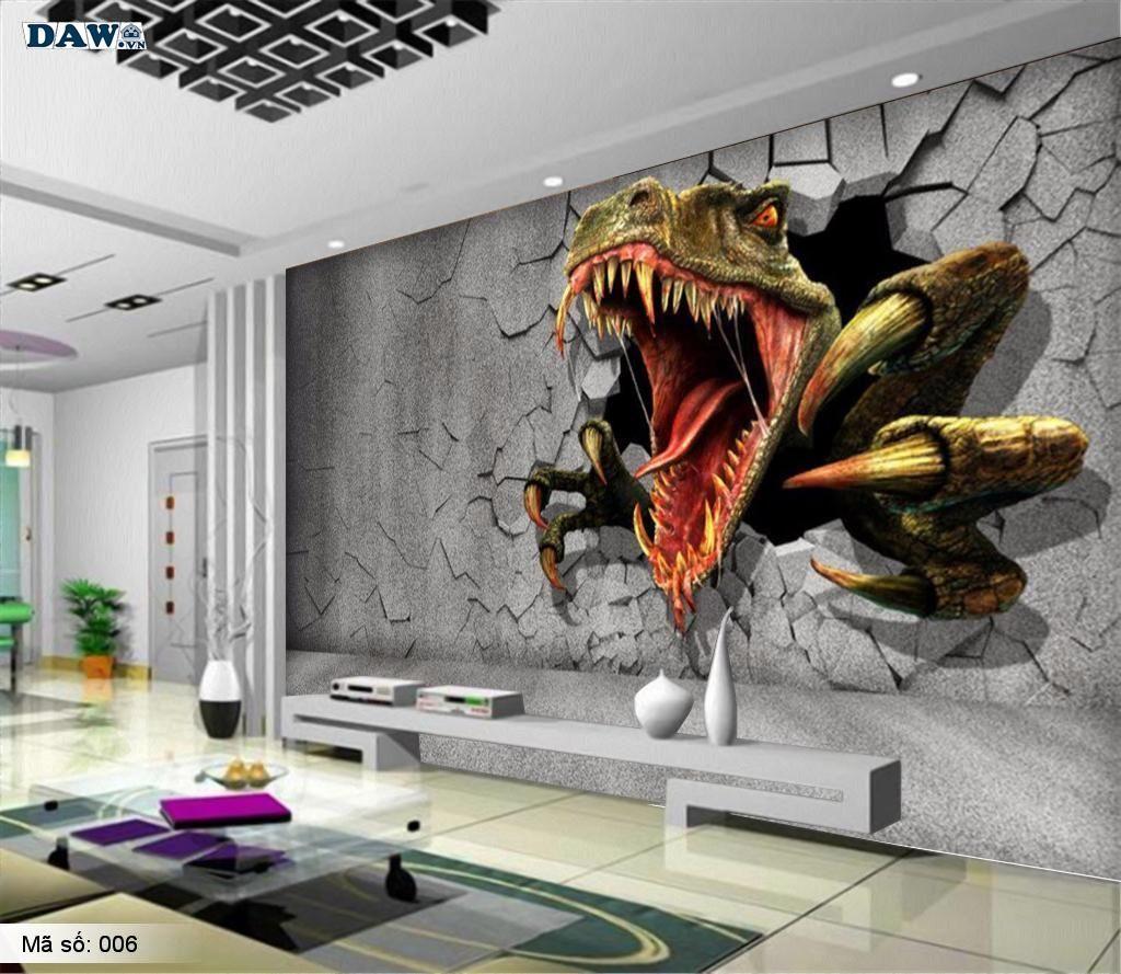Tranh dán tường hình khủng long 3D