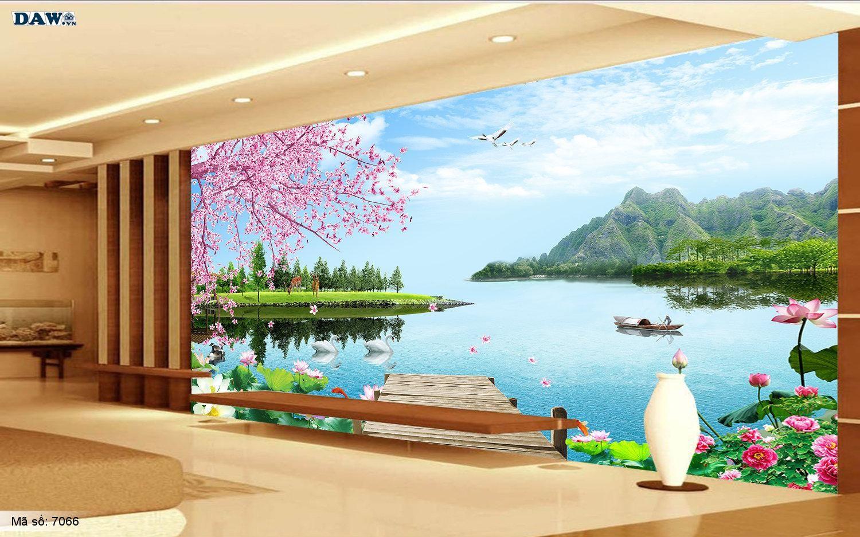 Tranh dán tường phong thủy, hoa sen, con thuyền, hồ nước núi non chim cò 7066