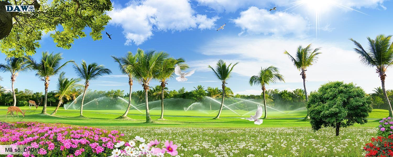 Tranh dán tường thiên nhiên phong cảnh đẹp, bầu trời, vườn dừa hoa mặt đất DA017, khổ ngang dài panorama DA017