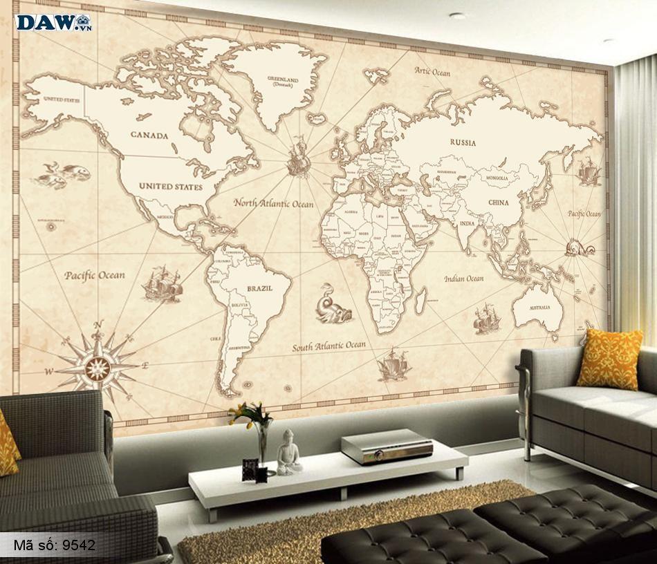 Tranh dán tường hình bản đồ thế giới màu vàng 9542