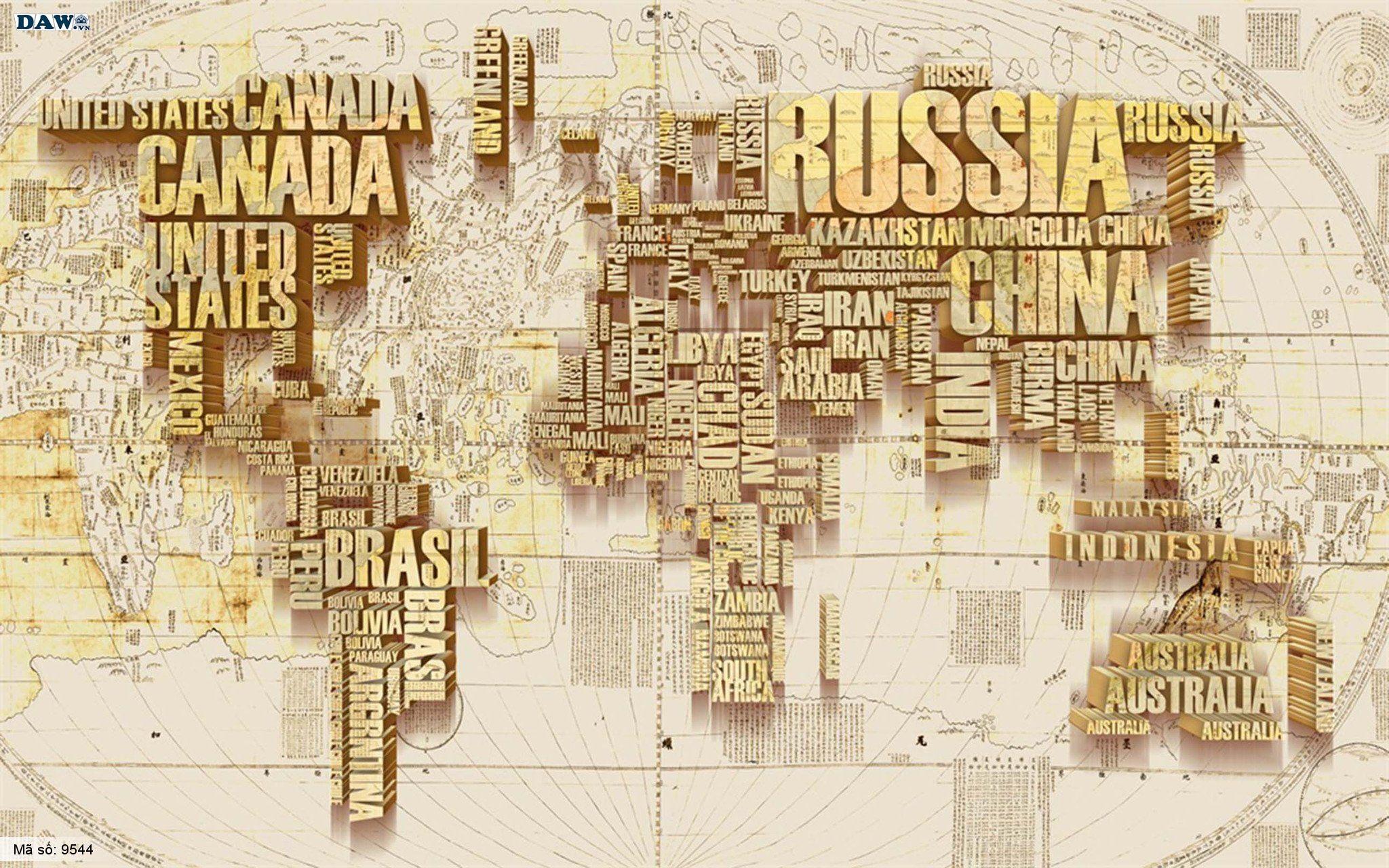 Tranh dán tường hình bản đồ thế giới 3D màu vàng