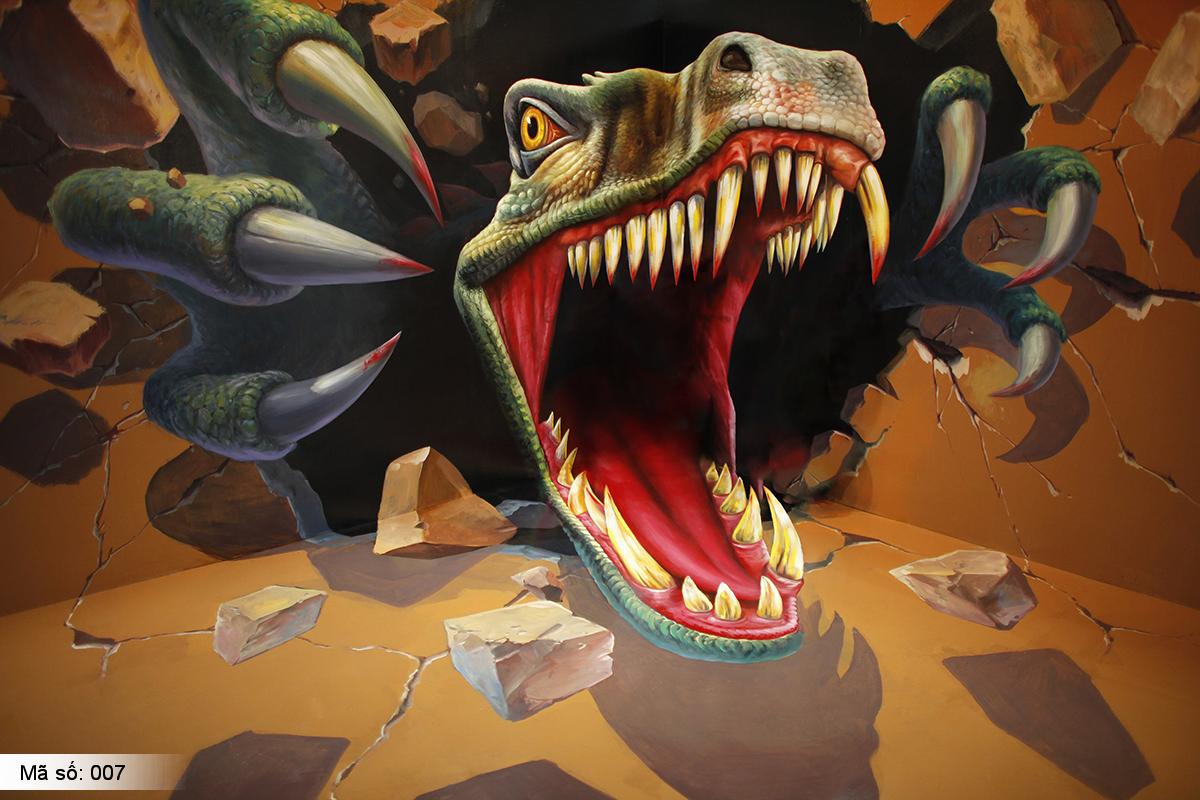 Tranh dán tường khủng long | tranh khủng long 3D | Khủng long bạo chúa hung dữ