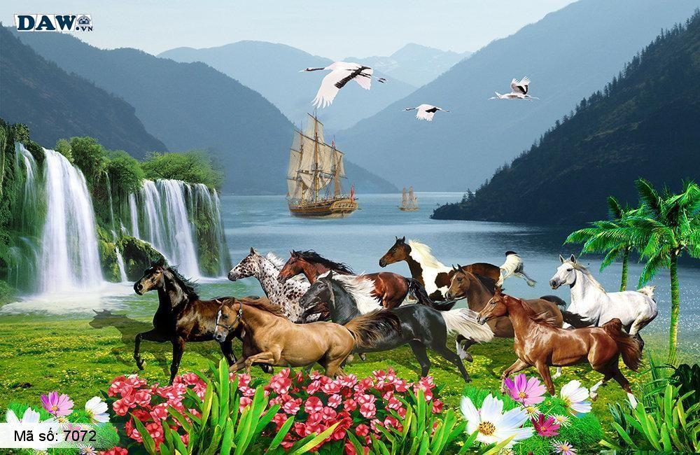 Tranh dán tường 8 con ngựa đẹp
