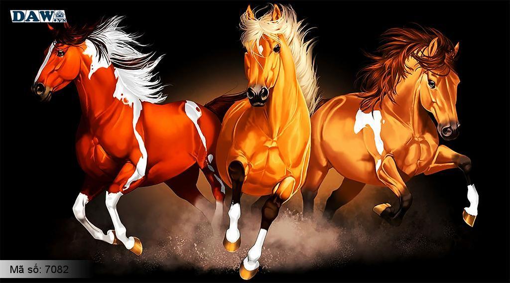 Tranh dán tường 8 con ngựa, tranh bát mã trang trí phòng khách, mang lại may mắn
