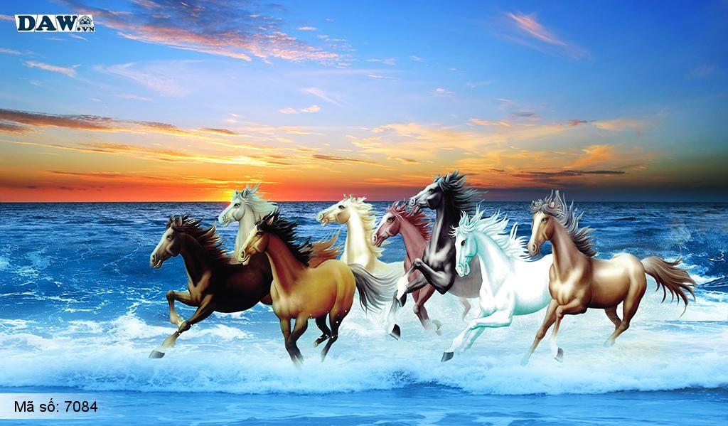 Tranh dán tường mã đáo thành công, 8 con ngựa chạy bên bờ biển