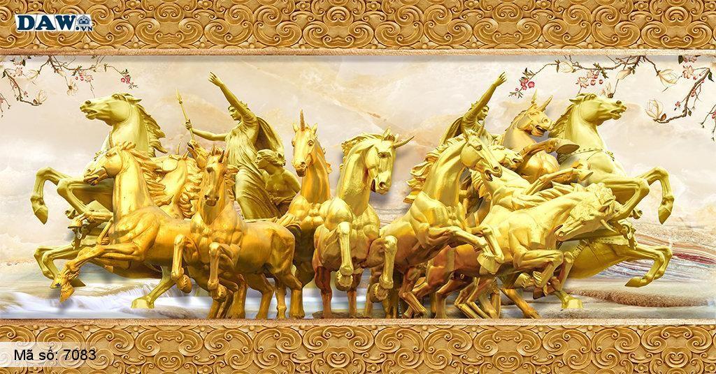 Tranh dán tường ngựa thành công, màu vàng, Tranh dán tường phòng khách, phòng làm việc đẹp