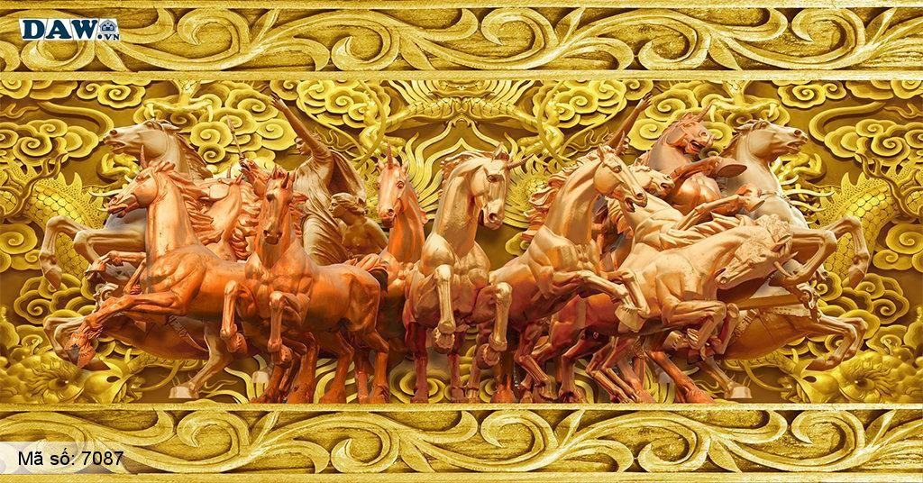 Tranh dán tường phòng khách, mã đáo thành công, 8 con ngựa màu vàng 3D